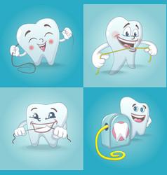 floss dental teeth icons set cartoon style vector image