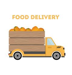 Food delivery - pumpkins car truck vector