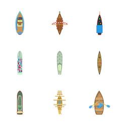 Free to swim icons set cartoon style vector