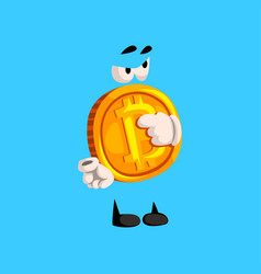 Funny bitcoin character pointing crypto currency vector