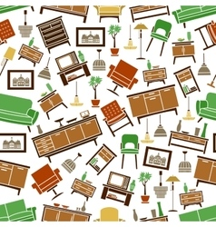 Furniture seamless pattern Room interior elements vector image