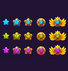 Gems award progress golden amulets set with star vector
