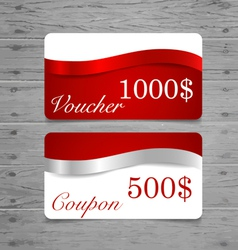 Gift Cards sale coupon voucher with red ribbons vector