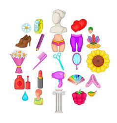 Glamor icons set cartoon style vector