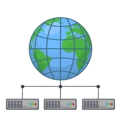 Global storage network icon cartoon style vector
