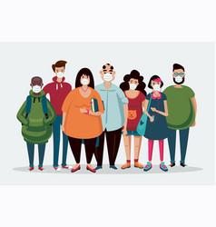 Group people wearing medical mask coronavirus vector