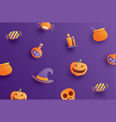 halloween element object in paper art style on vector image