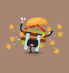 Hamburger character crying out in money tears vector