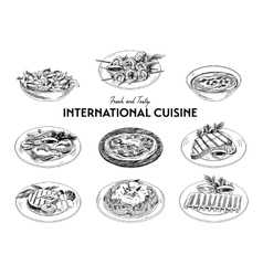 Hand drawn sketch international cuisine set vector