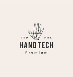 hand tech geometric hipster vintage logo icon vector image