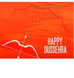 Happy dussehra festival orange greeting with bow vector