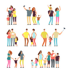 Happy family groups adult parents couple playing vector