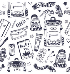 Hipster accessories seamless pattern what is my vector