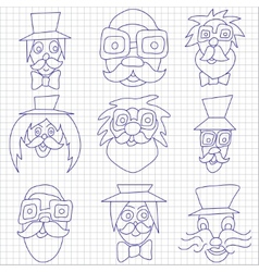 Hipster faces with mustaches and sunglasses vector