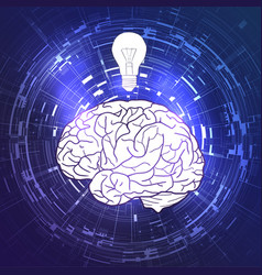 human brain and a light bulb on violet techno vector image