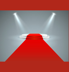 Illuminated podium floor red carpet to white vector