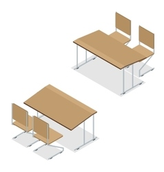 Isometric Wooden school desk and chair isolated on vector