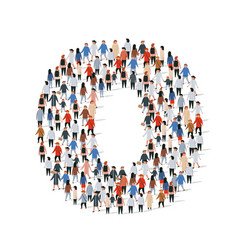large group people in number 0 zero form vector image