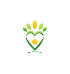 letter v heart leaf logo green heart leaves icon vector image