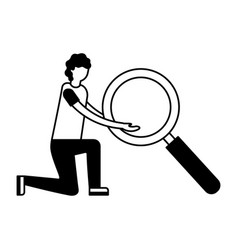 man holding big magnifying glass vector image