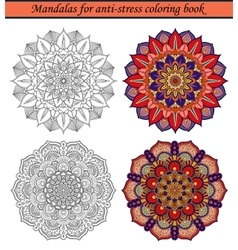 Mandalas for anti-stress coloring book 2 vector