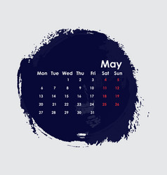 May 2019 calendar templatestarts from monday vector