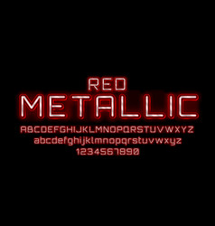metallic red font english alphabet and numbers vector image