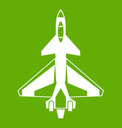 military fighter jet icon green vector image