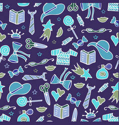 modern seamless pattern with tools for knitting vector image