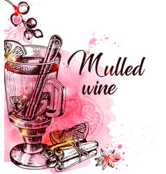Mulled wine and spices on a red watercolor vector