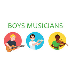 musicians boys is inspired to play different vector image