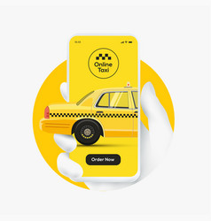 online taxi order concept white hand silhouette vector image
