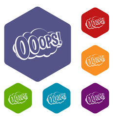 Ooops comic book explosion icons set hexagon vector