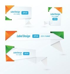 Origami label design orange green blue vector image