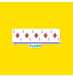 paper sticker on stylish background poker flush vector image