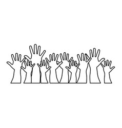 People hands up together icon vector