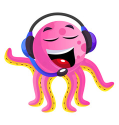 pink octopus operator on white background vector image
