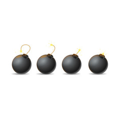 Realistic detailed 3d bomb explosion step set vector