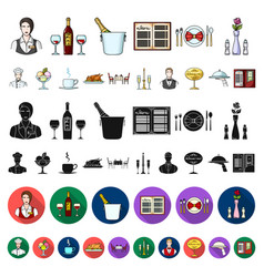 Restaurant and bar cartoon icons in set collection vector