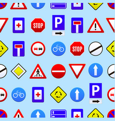 road signs seamless pattern background vector image
