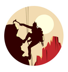 Round logo of alpinists climbers vector