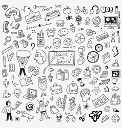 School education doodle set pencil drawings vector
