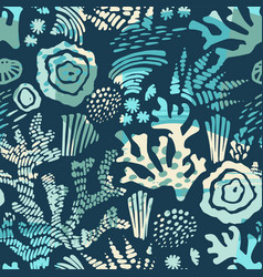 Sea seamless pattern with hand drawn vector