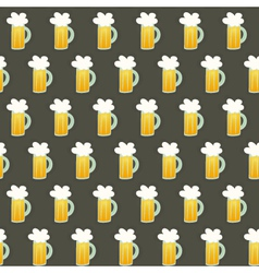 Seamless pattern glass beer mug on a brown vector