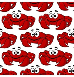 Seamless pattern of a cute happy red crab vector image