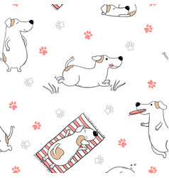 seamless pattern with dogs on white background vector image