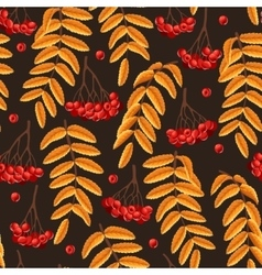 seamless rowan berries and leaves vector image