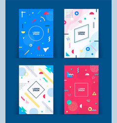 set neo memphis style covers vector image