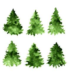 Set of green watercolor spruces fir tree vector