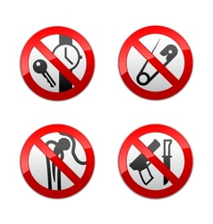 set prohibited signs - metal detector vector image